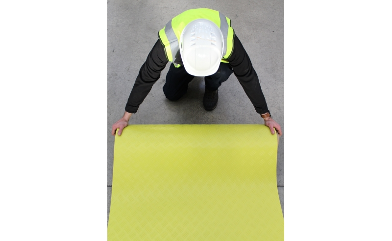 YELLOW HI-VIS CHECKER PLATE PVC MATTING 10M X 1M X 2MM2