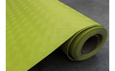 YELLOW HI-VIS CHECKER PLATE PVC MATTING 10M X 1M X 2MM3